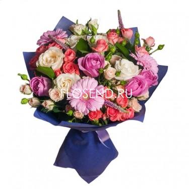Букет кустовая роза и гербера